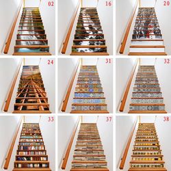 13pcs/set 3D Stair Riser Floor Stickers Waterproof Removable Self Adhesive DIY Stairway Decals Murals Home Decor E65B