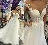 Simple Wedding Dress Wedding Gowns 2019 Bride Dress A line Tulle Lace Appliques Bride Dress Luxury Abiti da sposa De Noiva