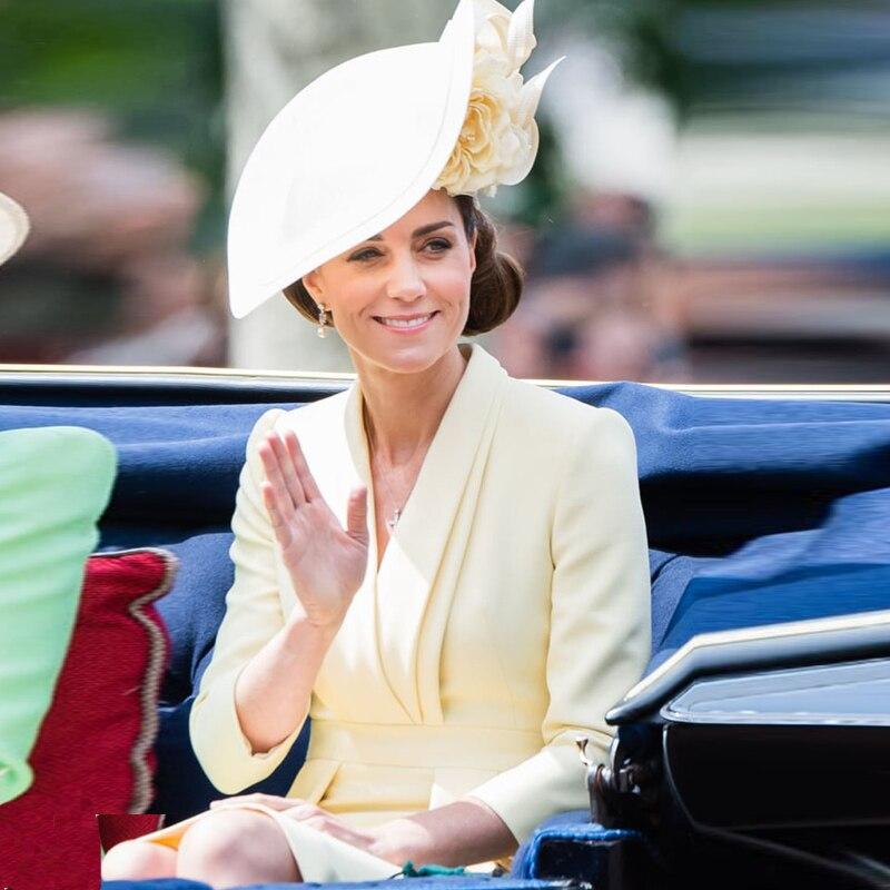 Kate Middleton haute qualité automne nouvelle mode féminine lieu de travail fête Sexy col en v Vintage élégant Chic à manches longues robe Midi