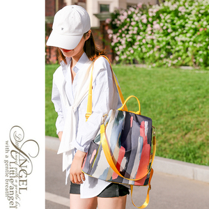 Image 4 - Simple style ladies backpack anti theft Oxford cloth tarpaulin stitching sequins juvenile college bag purse Bagpack Mochila