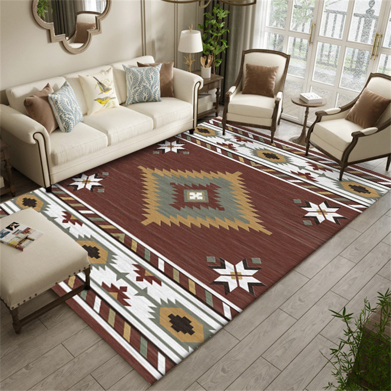Geometric Indian Ethnic Style Rectangle Carpets Hallway Doormat Anti-Slip Living Room Bathroom Carpets Kids Room Bedside Tapete