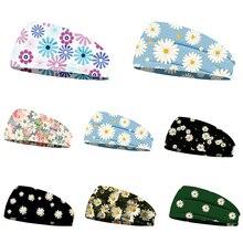 Daisy Print Sports Yoga Headband Turban Scarf Elastic Hair Accessories Hair Wrap Hairband for Women Girls Ladies Headwear Gifts