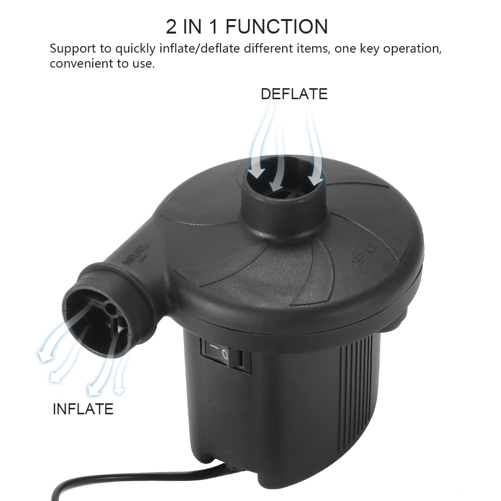 2 In 1inflate/Deflate Pump Black 3 Nozzles Electric Air Mattress Camping Pump Portable Quick Filling For Car Home Use
