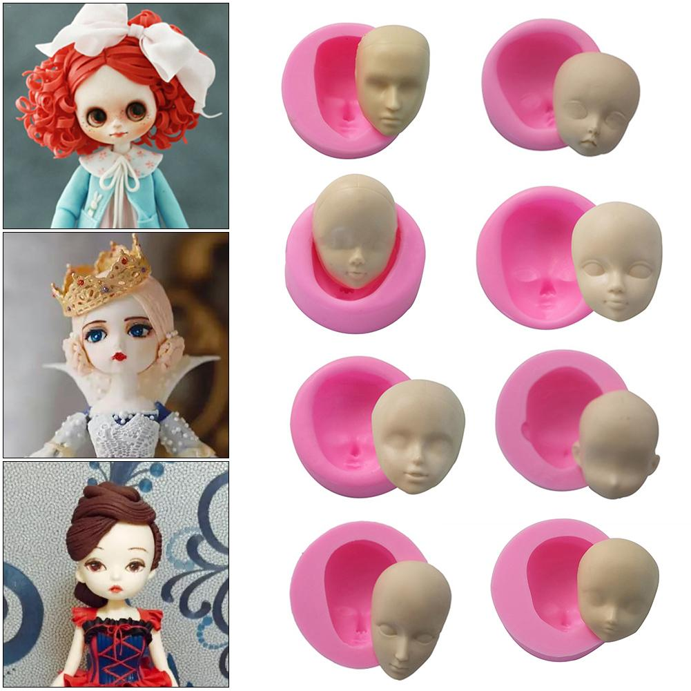 AUGKUN DIY Face Silicone Mold Baby Doll Face Mold For Fondant Chocolate Soap Handmade Soap Cake Decorating Tools Doll Face Mould