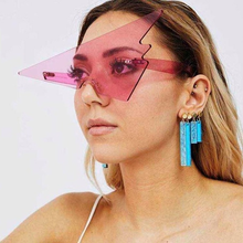 2021 New Inverted Triangle Frameless Sunglasses Trend One Piece Retro Brand Designer High-end Fashion Party Funny Glasses