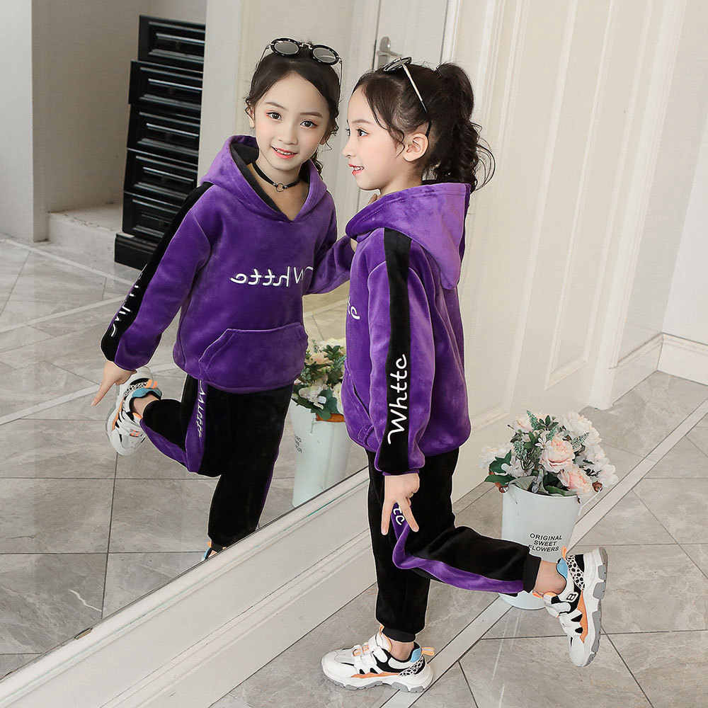 Marca meninos moda grosso velo hoodies + calças 2 pçs conjuntos de roupas das meninas da criança crianças inverno conjuntos menino camisolas ternos casuais
