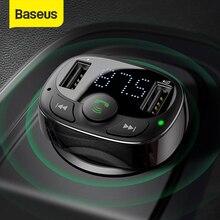 Baseus Dual USB מטען לרכב עם FM משדר Bluetooth דיבורית FM מודולטור טלפון מטען במכונית עבור iPhone Xiaomi HUAWEI