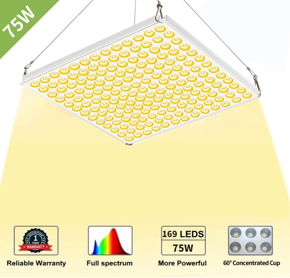 HOUYI LED Grow Light 75W Full Spectrum 3500K Plant Light For Indoor Plants Hydroponics Greenhouse Seedling Veg And Flower