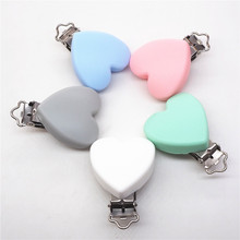 Купить с кэшбэком Chengkai 10pcs Silicone Heart Teether Clips Baby Shower Pacifier Dummy Soother Nursing Charm Jewelry Making Holder Clips