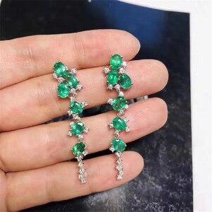 Женские серьги с изумрудами и зелеными драгоценными камнями, из натурального серебра 925 пробы, прекрасный брелок