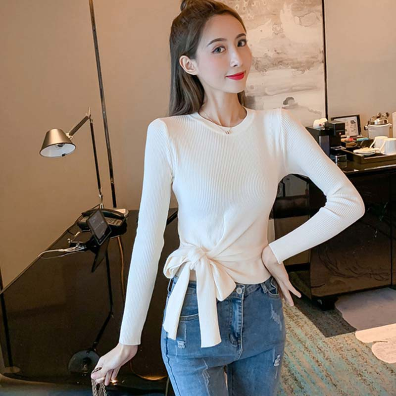 Sexy Solid Knitted Short Sweater Women Fashion Bow Short O-neck Long Sleeve Pullovers and Sweaters  Autumn Winter Jumper