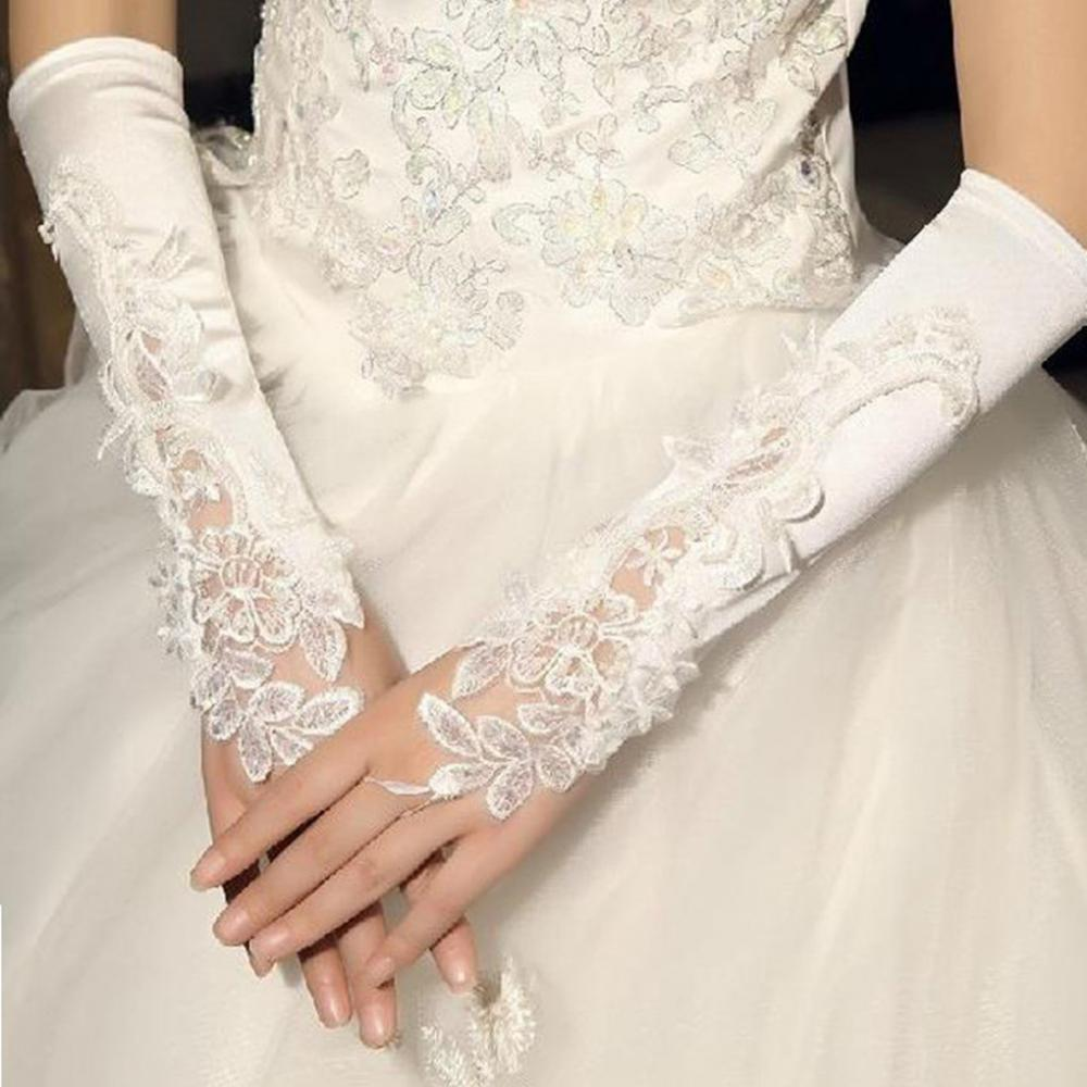 Fashion Womens Bridal Gloves White Flower Lace Pearl Beads Satin Wedding Party Costume