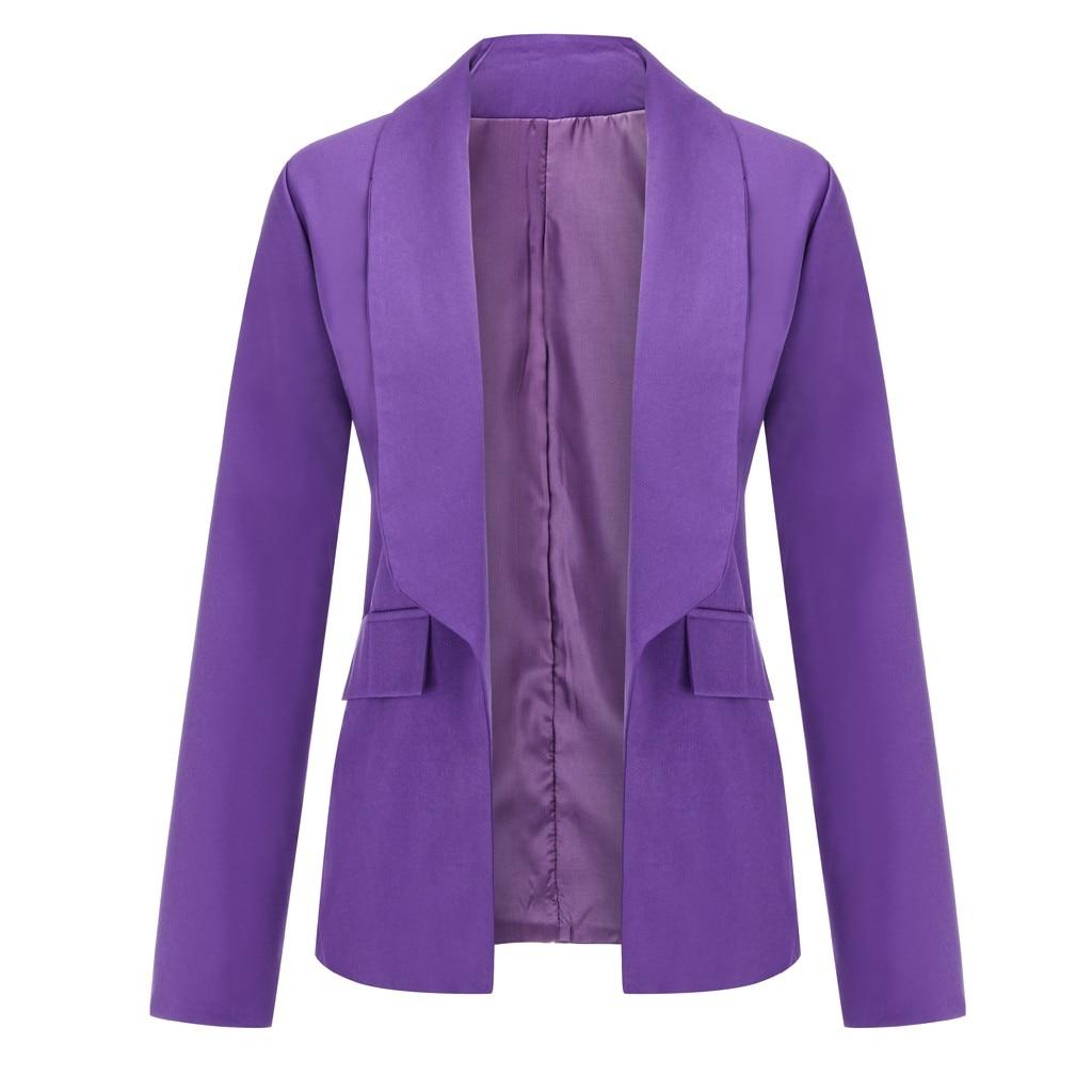 Женщины фиолетовый блейзеры пальто кардиган 2019 длинным рукавом женщины пиджаки и куртки с рюшами асимметричный повседневный деловой костюм пиджаки