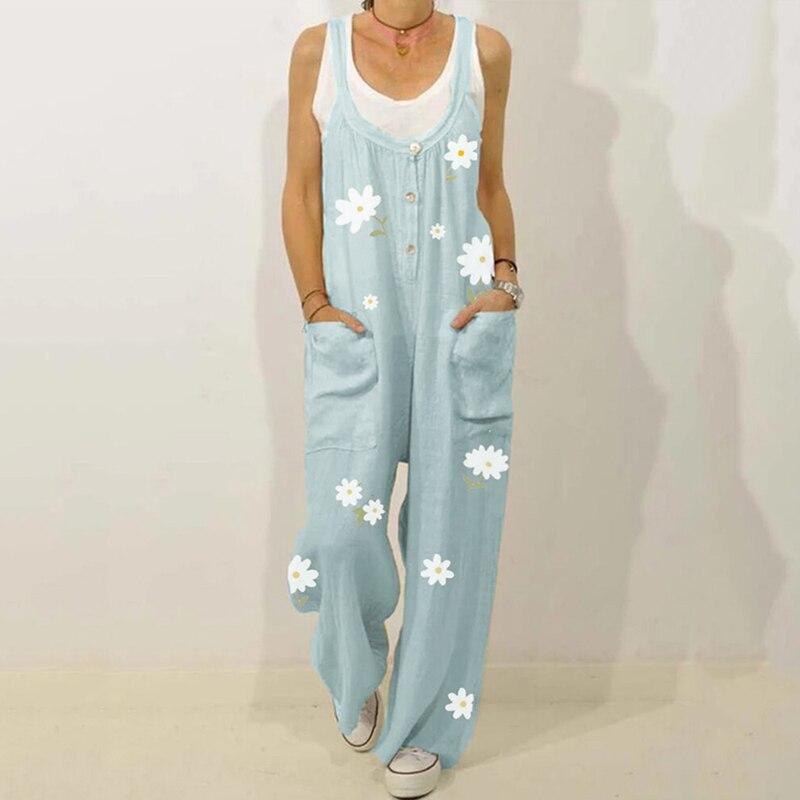 Fashion Flower Print Linen Women Jumpsuit Plus Size  Loose Overalls Casual Dungarees Romper Oversized Jumpsuits