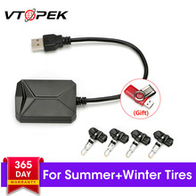Vtopek USB Android TPMS Tire Pressure Monitoring System For Car Radio DVD Player 4 Internal External Sensor Summer/Winter Tire large size screen monitors car tire pressure monitoring system car tpms usb connecting android dvd mp5
