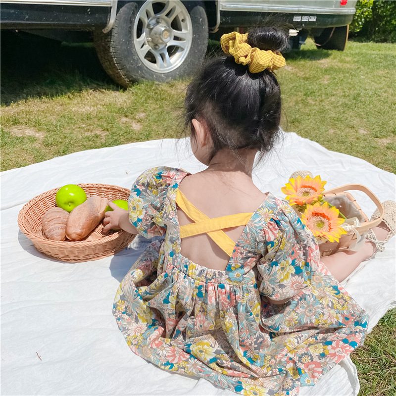 2020 Summer New Arrival Girls Fashion Floral Dress Kids Back Cross Dresses