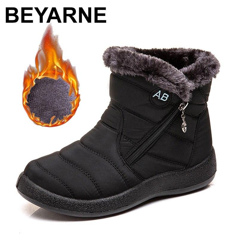 BEYARNEWomen's ankle boots fur boots warm snow boots winter shoes for women waterproof padded boots winter boots women footwear