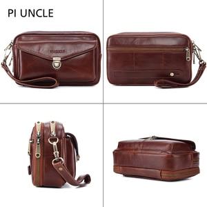 Image 3 - Brand Original Genuine Leather Mens Clutch HandBags Mens Wrist Long Wallet Money Cards Mobile Purse For Women Large Capacity