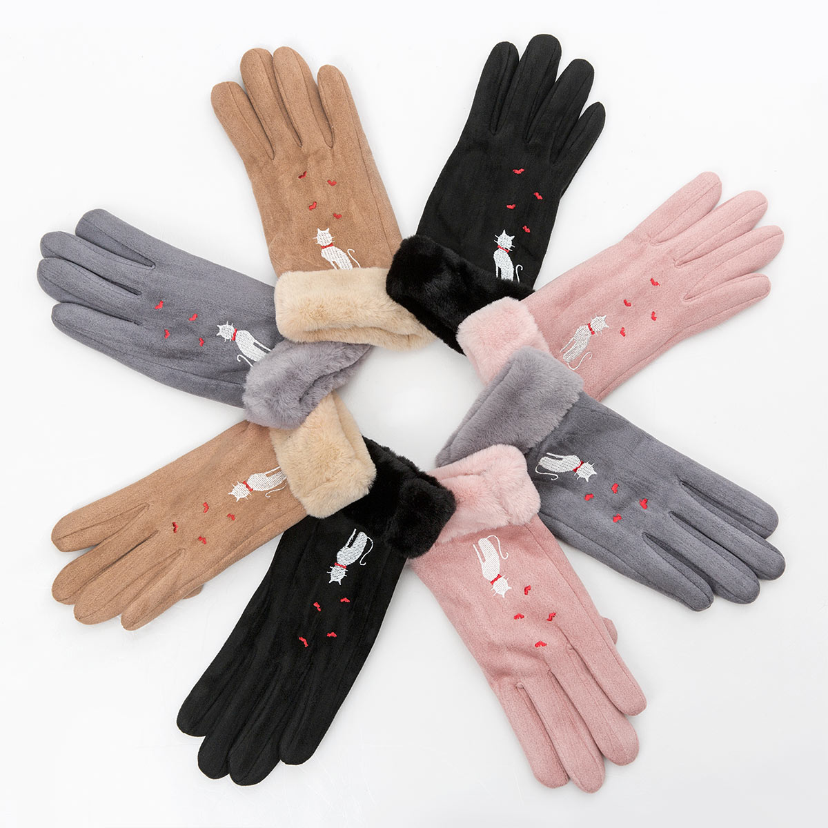Winter Women Touch Screen Gloves with Embroidery made with a Special Conductive Fabric into Finger Tips for fast Navigation of All Touch Screen Device 4