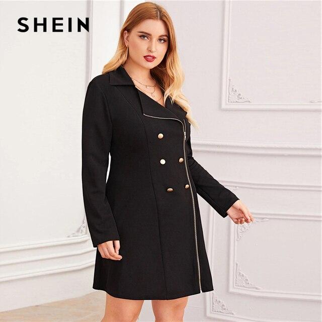 SHEIN Plus Size Black Zipper Front Double Button Blazer Dress Women Autumn Lapel Collar A Line Elegant Plus Mini Dresses 1