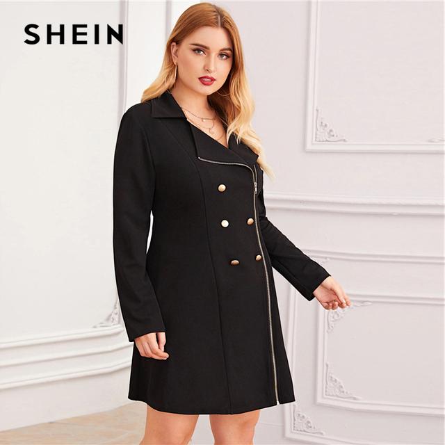 Vestido negro con cremallera frontal  Vestido de otoño
