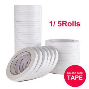 1/ 5 Rolls Double Sided Adhesive Tape White Super Strong Double Faced Adhesive Tapes for Home DIY Craft Office Supplies