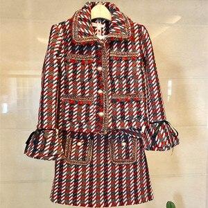 Image 1 - 2019 Autumn Plaid Tweed 2 Piece Set Winter Women Elegant Flare Sleeve Pearl Button Jacket Coat+High Waist Wool Mini Skirt Suits