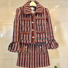 2019 herbst Plaid Tweed 2 Stück Set Winter Frauen Elegante Flare Hülse Perle Taste Jacke Mantel + Hohe Taille Wolle mini Rock Anzüge