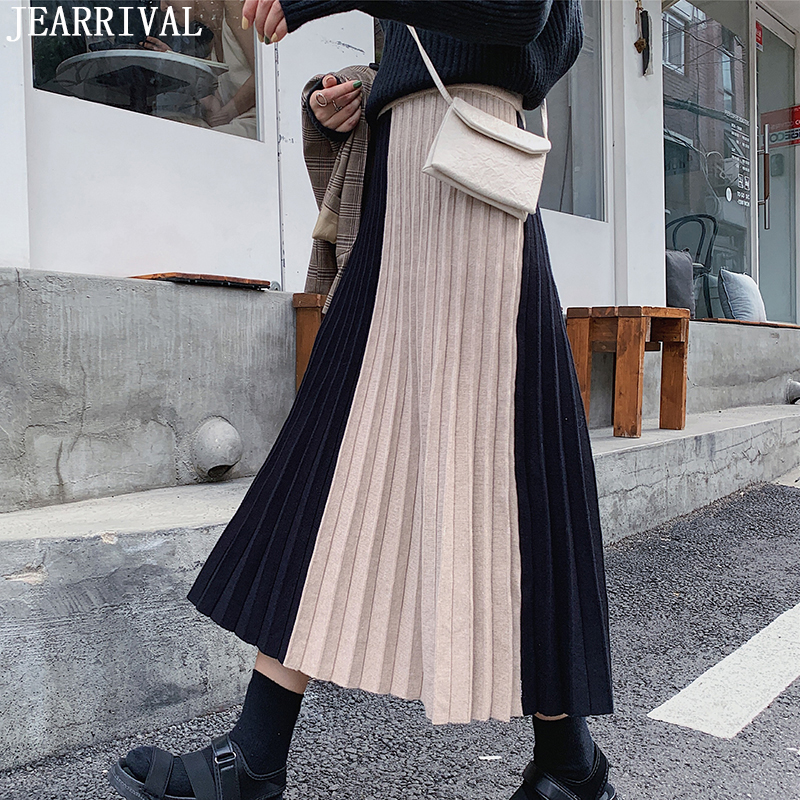 New 2019 Winter Contrast Long Skirts Womens High Waist Knitted Skirt Korean Style Ladies Casual Warm Pleated Skirt Saia Faldas
