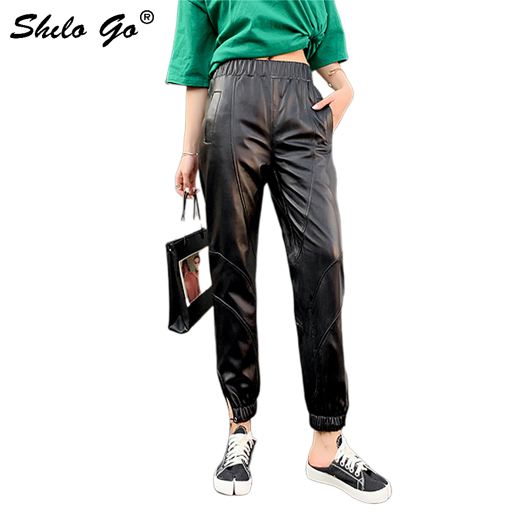 Genuine Leather Pants Black Elastic Waist Solid Loose Tapered Carrot Pants 2020 Autumn Women Modern Lady Elegant Tapered/Carrot