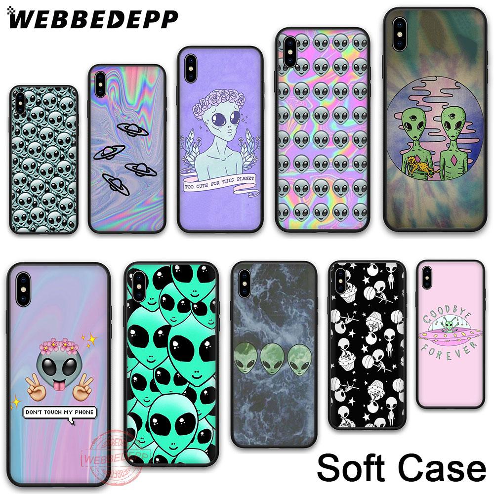 WEBBEDEPP 6N Alien Soft Phone Case for iPhone X XR XS 11Pro Max 7 8 6S Plus 5S SE 8Plus 7Plus 11 Pro Cases