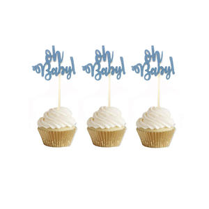 Image 5 - 10pcs Glitter Gold Oh Baby Cupcake Toppers Oh Boy Girl Baby Shower Ballon 1st Happy Birthday Cake Decoration Kids Party Supplies