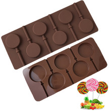Molde reutilizável de silicone para pirulito, forma de silicone para pirulito, decoração de chocolate, estêncil, ferramentas de confeitaria, 5/6 orifícios