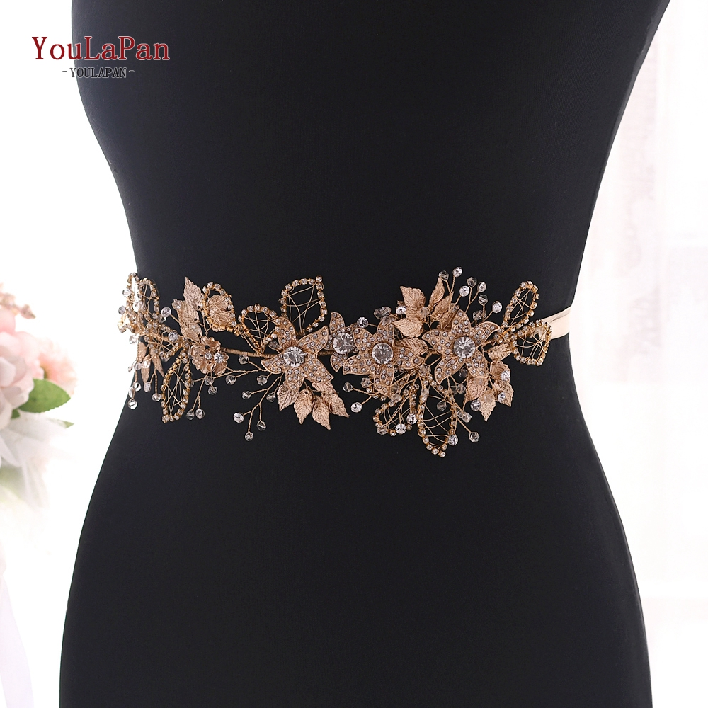 YouLaPan Rhinestone Floral Belt Golden Belts For Women Dress Sparkle Belt Ladies Wedding Belts Gold Flowers Bridal Belt SH282