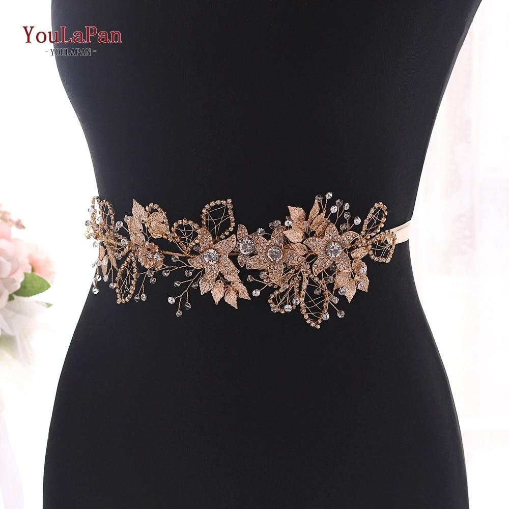 YouLaPan Rhinestone Floral Belt Golden Belts For Women Dress Sparkle Belt Ladies Wedding Belts Gold Flowers Bridal Belt SH282