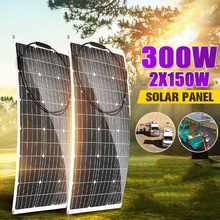 Panel Solar monocristalino semiflexible, célula Solar de 300W/150W, 18V, Cable artesanal, impermeable, para exteriores, coche, RV, sistema de energía recargable