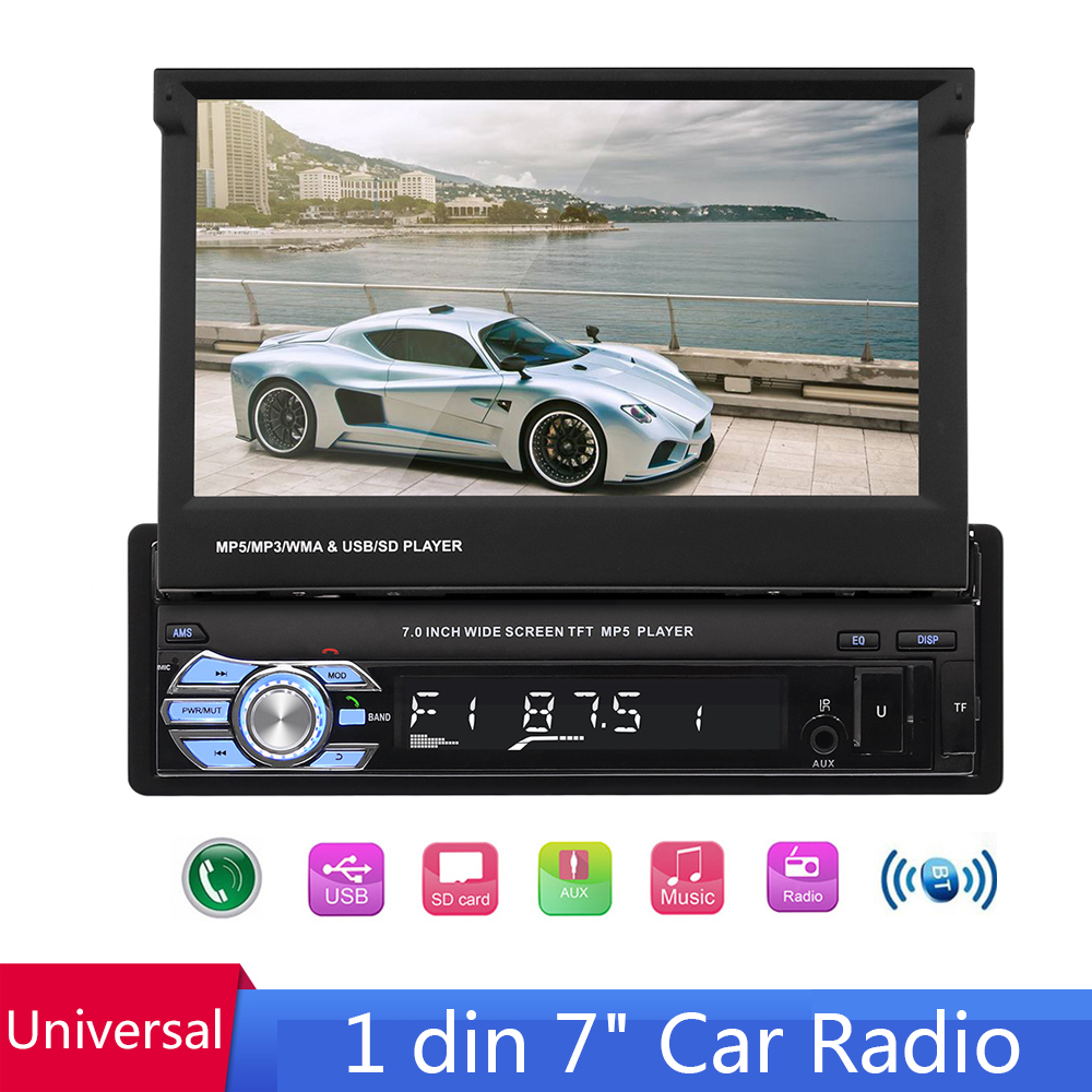 1din 7'' Universa Car Radio Retractable MP5 Multimedia Player Auto Stereo Bluetooth HD FM USB SD Mirror Link GPS Support Camera image