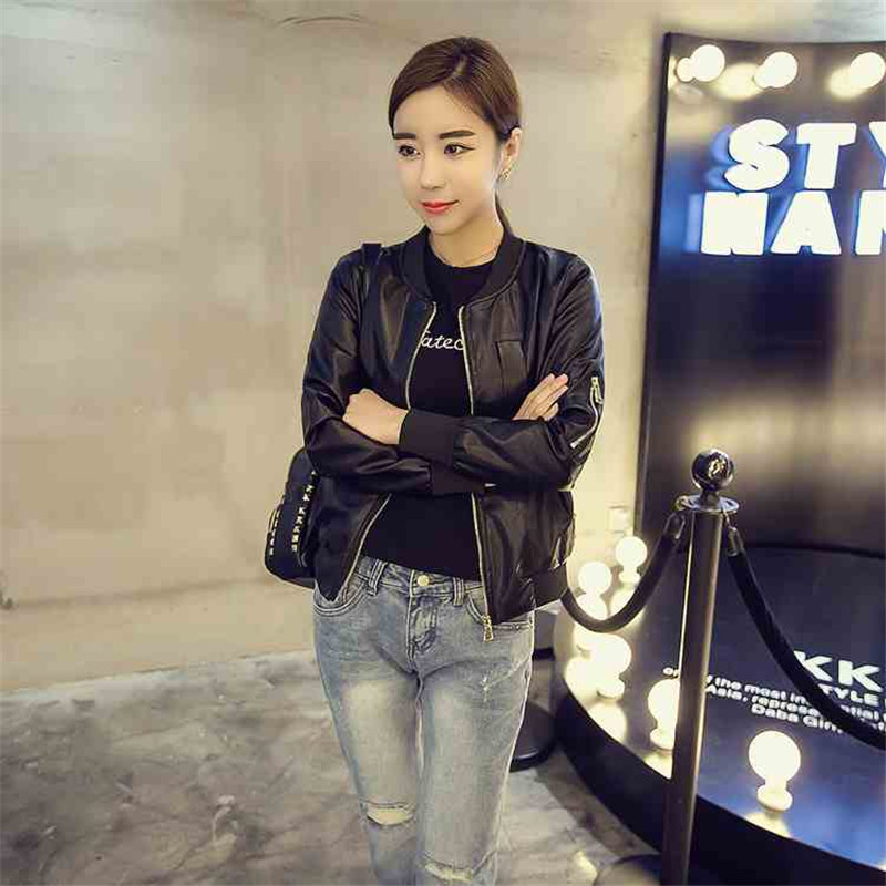 leather jacket women's leather jacket 19 new short section thin section u small section short dress Korean gown children's style