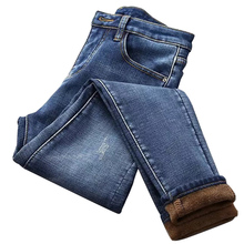 Newly Women High Waist Thermal Jeans Fleece Lined Denim Pants Stretchy Trousers