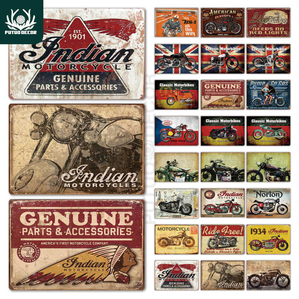 Indian Motorcycle Metal Signs Retro Tin Sign Plaque Metal Vintage Wall Decor for Garage Bar Pub Man Cave Iron Painting