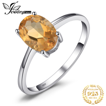 JewelryPalace Genuine Citrine Ring Solitaire 925 Sterling Silver Rings for Women Engagement Gemstones Jewelry - discount item  33% OFF Fine Jewelry