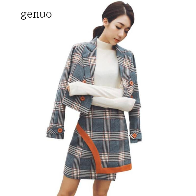 Spring Formal Skirts Suits Women OL Two Piece Set Double-breasted Plaid Short Jacket Coat+High Waist Irregular Skirts