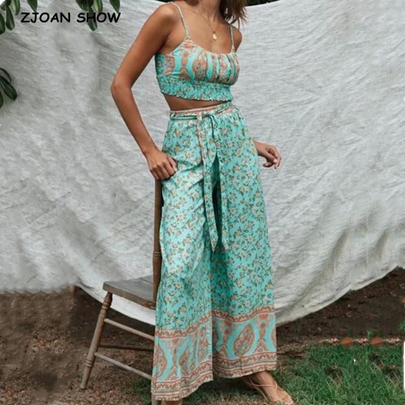 2020 Bohemia Crop Top Elastic Hem Floral Print Bra Tank Top Sexy Women Tie Bow Sashes Wide Leg Pants Ruched Camis 2 Pieces Set