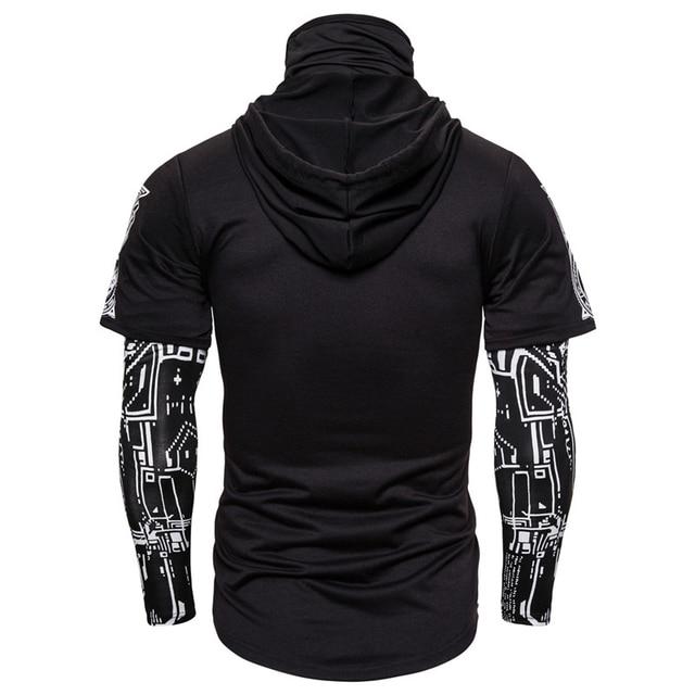 Mens Skull Mask Hoodies Sweatshirt Fake Two Pieces Men Punk Jogging Homme Pullover Elastic Streetwear Hoodie Japan Ninja Suit 5