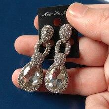 цена на Beautiful white Colors Crystal waterdrop Stud Earrings Rhinestone brown Crystal Piercing Earrings Women Christmas Party