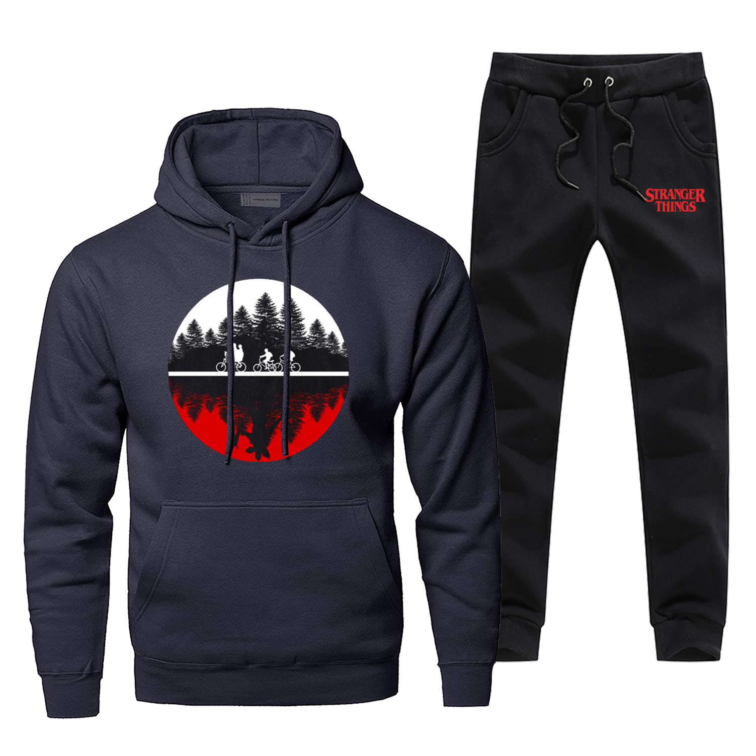 Funny Design Two-worlds Men's Hoodies Pants 2 Piece Sets Hip Hop Sweatshirt Mens Harajuku Streetwear Stranger Things Sportswear