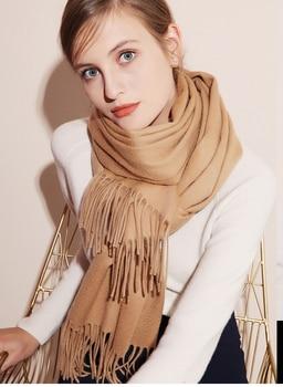 Women Winter Scarf 2020 Pure Cashmere Scarves Thicker Neck Warm Headband Hijab Lady Shawls Wraps