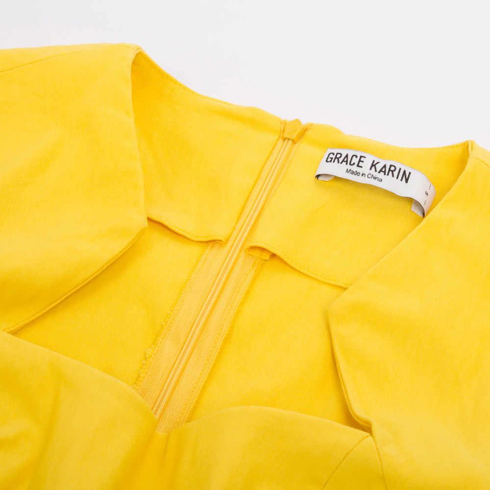 그레이스 카린 여성 레트로 빈티지 Bodycon 연필 드레스 캡 슬리브 높은 스트레치 슬림 맞는 드레스 레이디 솔리드 작업 사무복