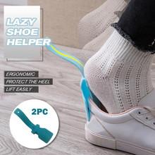 2 szt Leniwy pomocnik do butów Unisex obsługiwane łyżka do butów łatwe zakładanie i zdejmowanie butów podnoszenie butów pomocnik do butów podnośniki łatwe w noszeniu buty tanie tanio Hawcoar Buta poduszki Poliester shoes helper sock slider