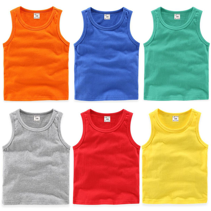 Baby Clothes Summer New Kids Boys And Girls Sleeveless T Shirt Candy Colors Cotton Breathable Outfit Pullover Tops Sports Vest